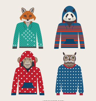 Illustrated animal hoodie set - vector #376947 gratis