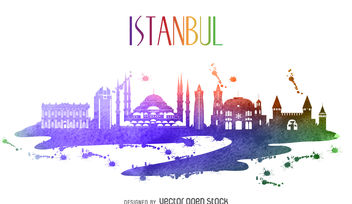 Istanbul watercolor skyline - Free vector #377067