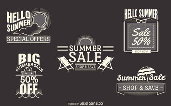 summer sale label set - vector gratuit #377107