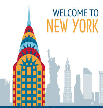 New York postcard illustration - vector gratuit #377117