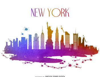 New York watercolor skyline - vector gratuit #377207