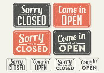Free Vintage Sign Open and Closed Vector - Free vector #377237