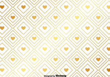 Vector Gold Pattern With Golden Hearts - vector gratuit #377447