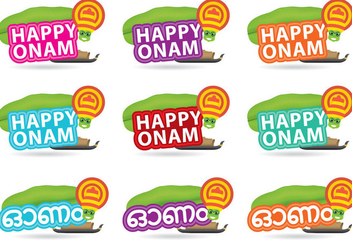 Happy Onam Titles - vector gratuit #377457