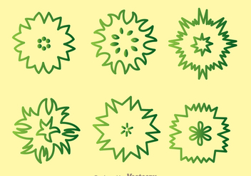 Plant Top View Green Outline Icons - бесплатный vector #377477