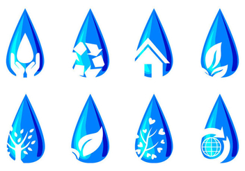 Water For Life Icons - vector #377567 gratis