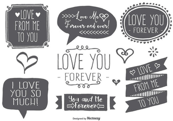 Hand Drawn Style Love Label Set - vector #377597 gratis