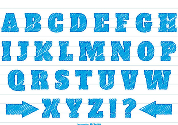Blue Scribble Syle Alphabet Set - vector #377667 gratis