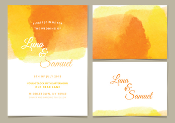 Vector Watercolor Wedding Invite - vector gratuit #377917