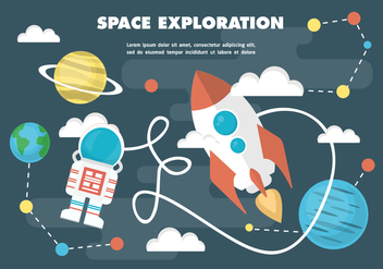 Free Flat Space Vector Illustration With Space Ship - vector gratuit #377927