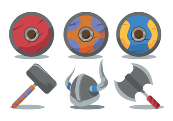 Viking Shield and Weapon Vector Set - Free vector #377947
