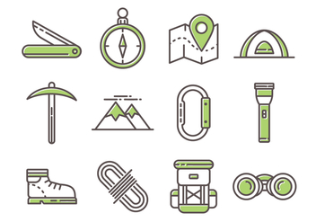 Free Mountaineer Line Icons - vector gratuit #378027