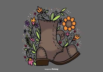 Flower Filled Boot Vector - бесплатный vector #378037