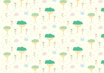 Tree Plants Pastel Pattern - vector gratuit #378067