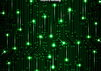Green Circuit Board Vector Background - Free vector #378287
