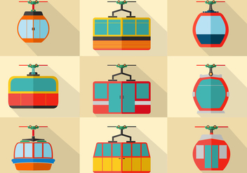 Cable Car Flat Stock Vector Set - бесплатный vector #378427