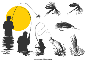 Free Fly Fishing Vector Set - Free vector #378477