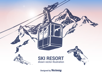 Free Ski Resort Vector Illustration - vector gratuit #378487