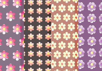 Cute Vector Floral Patterns - vector gratuit #378727