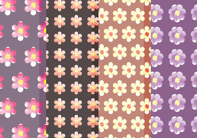 Cute Vector Floral Patterns - Kostenloses vector #378727