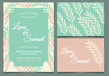 Mint and Peach Vector Wedding Invite - бесплатный vector #378767