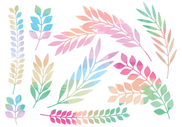 Colorful Vector Branches Set - vector gratuit #378787