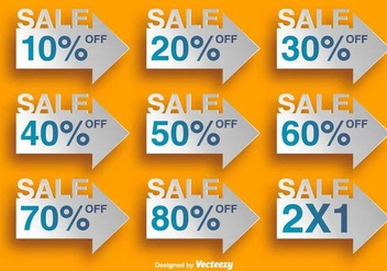 Arrow Shaped Labels With Discounts - Vector Elements - Free vector #378867