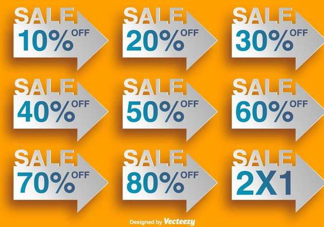 Arrow Shaped Labels With Discounts - Vector Elements - бесплатный vector #378867