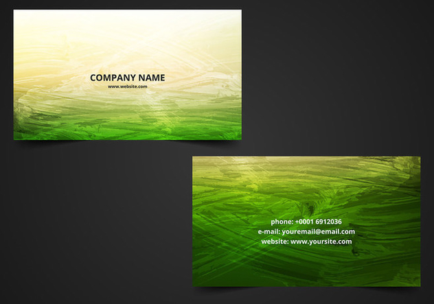 Free Vector Green Painted Visiting Card Pack - vector gratuit #378897
