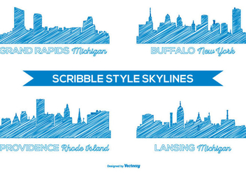 Scribble Style City Skylines - Free vector #378967