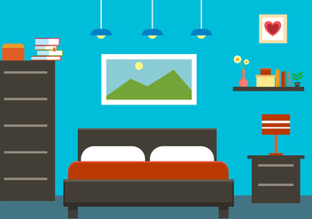 Free Flat Bedroom Interior Vector Illustration - vector gratuit #379057