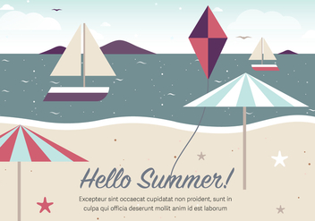 Free Vintage Summer Beach Vector Illustration - Free vector #379117