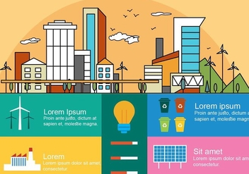 Free Flat Linear City Vector Infography - бесплатный vector #379177