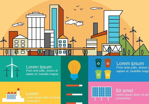 Free Flat Linear City Vector Infography - Kostenloses vector #379177