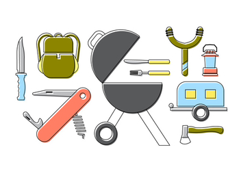 Family Picnic Icons - Free vector #379337