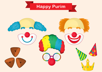 Purim Mask Vector Set - Free vector #379507