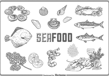 Free Hand Drawn Seafood Vector Set - Free vector #379517