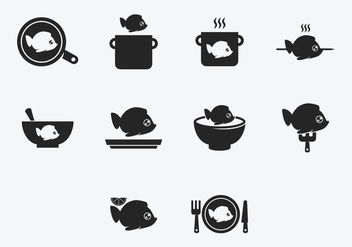 Fish Fry Cook Icon Set - бесплатный vector #379547