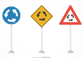 Free Vector Roundabout Traffic Signs - vector gratuit #379757