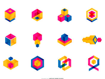 Colorful geometric logo set - vector #379877 gratis