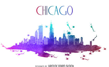 Chicago watercolor skyline silhouette - бесплатный vector #379917