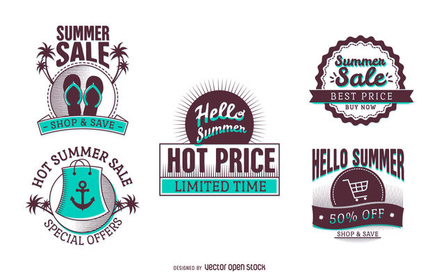 Summer sale discount labels - Free vector #379927