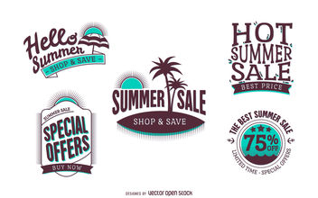 Summer sale badge set - Free vector #380027