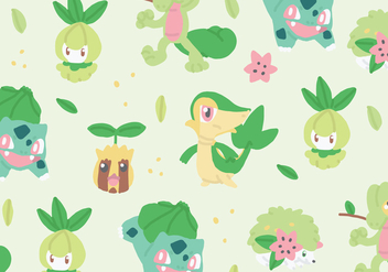 Grass Type Pokemon Pattern - vector gratuit #380107