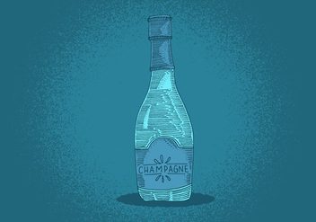 Champagne Bottle Line Drawing - vector gratuit #380117