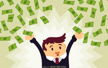 Business man with falling cash - vector gratuit #380137