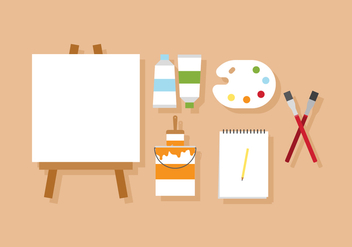 Vector Painting and Artist's Easel - бесплатный vector #380367