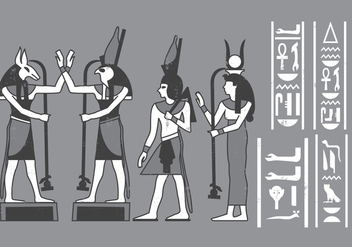 Egyptian icons Cartouches - Free vector #380427