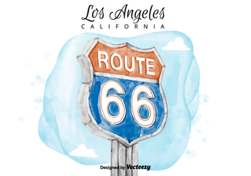 Free Route 66 Sign Watercolor Vector - Kostenloses vector #380617