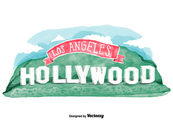 Free Hollywood Sign Watercolor Vector - vector gratuit #380637